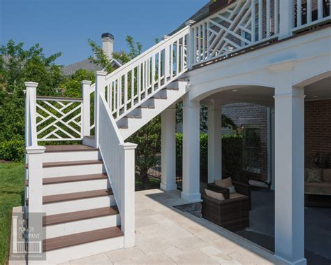 Chinese Screens Room Dividers - two story double porch with outdoor fireplace travertine patio and azek deck contemporary