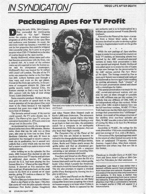 planet   apes tv series articles  interviews