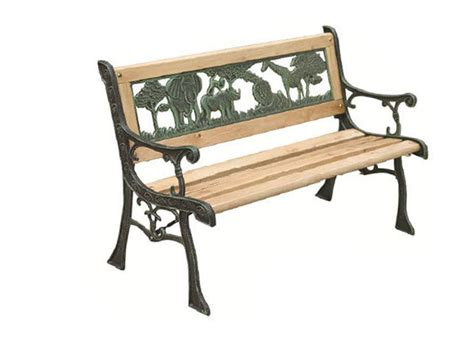 kid bench 3 seater metal wooden garden outdoor lattice back park