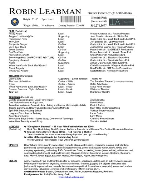 Actor Resume Template Word by Actor Resume Template Microsoft Word