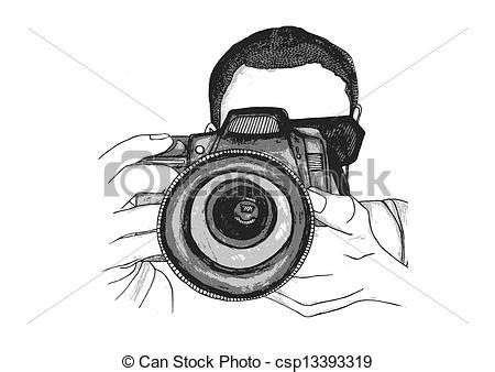vector clip art of photographer taking a picture a