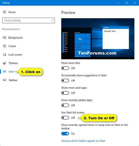 windows 10 start tutorial start full screen turn on or off in windows 10 windows