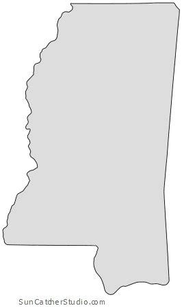 mississippi map outline printable state shape stencil