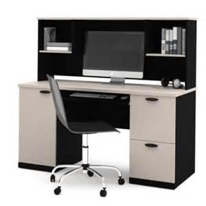 Bestar Computer Desk Bestar Hton Computer Desk With Hutch In Sand Granite Charcoal Walmart