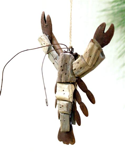driftwood crawfish christmas ornament wooden crayfish