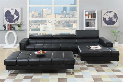ultra modern black bonded leather sectional sofa