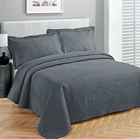 charcoal gray coverlet fancy collection 3pc luxury bedspread coverlet embossed