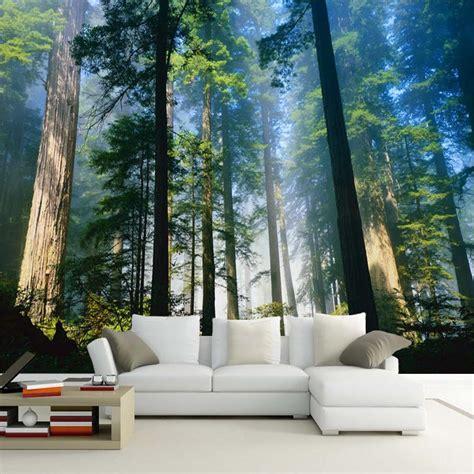 custom  wall murals wallpaper fog towering trees forest