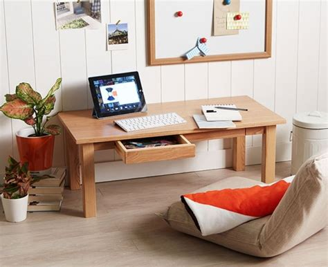 ash floor table x1 w drawer low japanese style laptop pc desk ebay