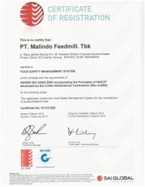 certificates   pt malindo feedmill tbk
