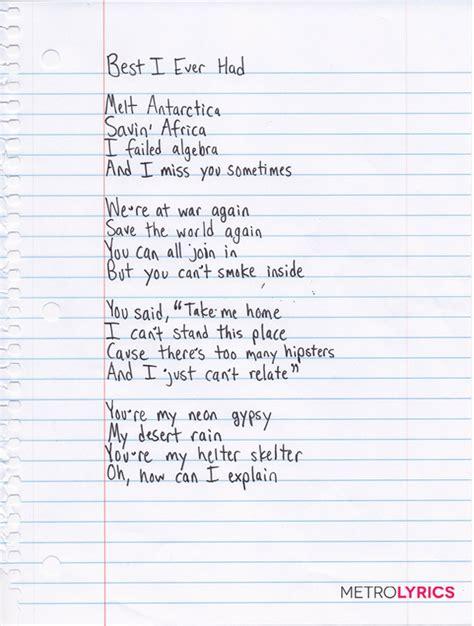 best part is you lyrics gavin degraw s handwritten lyrics to quot best i ever had