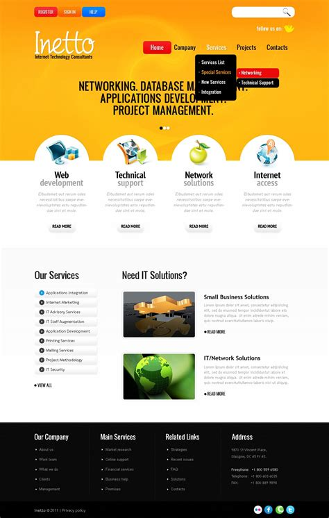 Internet Website Template 36204 Net Website Templates