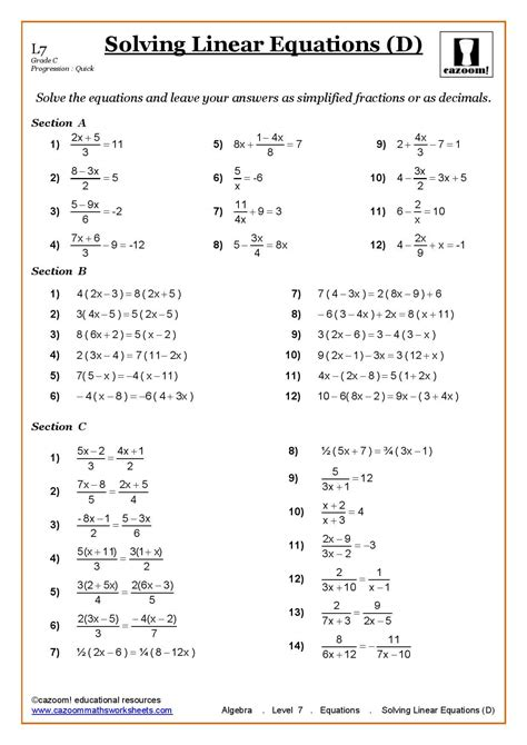 solving linear equations cazoom maths worksheets