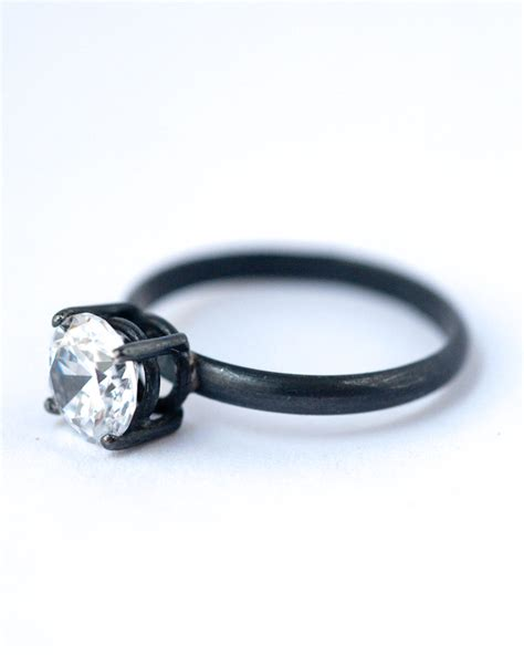 cubic zirconia engagement ring oxidized silver ring
