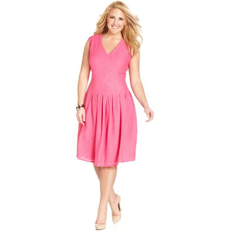 pink plus size dresses klein plus size sleeveless pleated dress in pink lyst