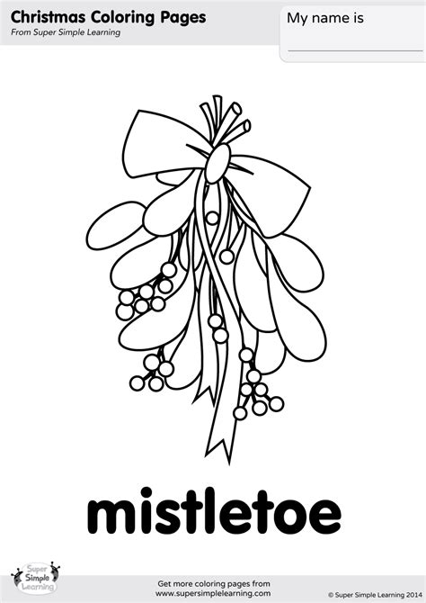 Mistletoe Coloring Page | Super Simple