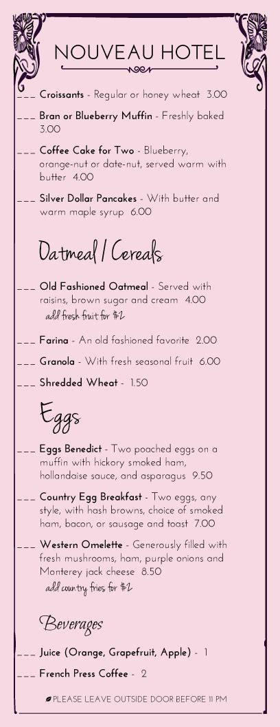 Room Service Breakfast Menu Template Hotel Menu Designs From Imenupro More Than Just Templates