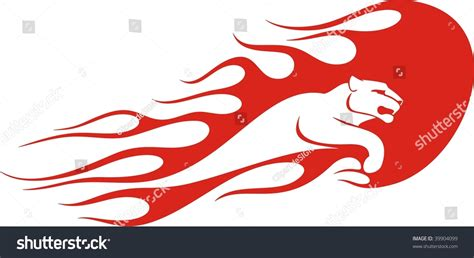 Auto Sticker Vector by Flaming Panther Vector Illustration Great For Vehicle