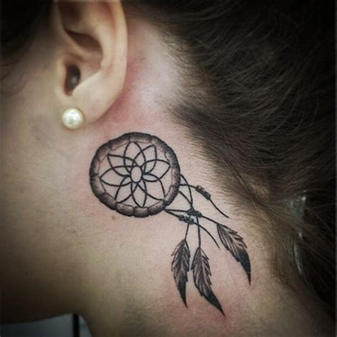 small dreamcatcher tattoo behind ear 38 small dreamcatcher placement ideas