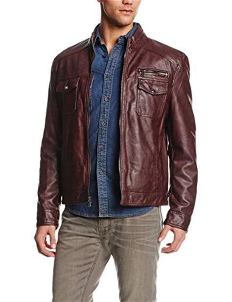 kenneth cole reaction s faux leather moto jacket burgundy medium buy in uae