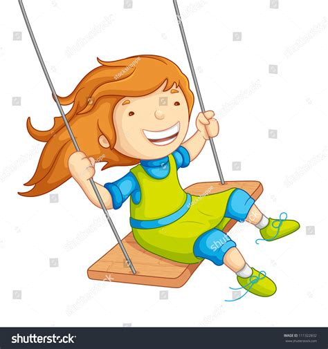 swing illustration vector illustration baby swinging on stock vector