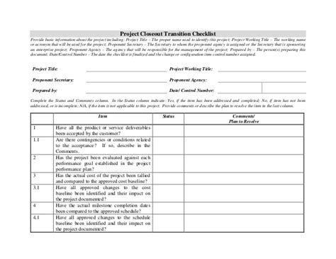 contract transition plan template project closeout transition checklist
