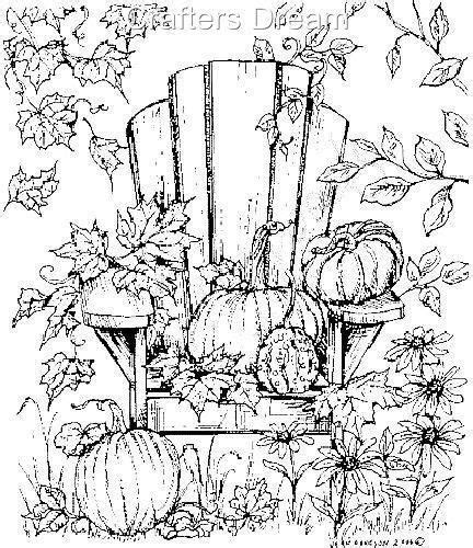 rubber tree coloring page adirondack chair with pumpkin trees leaves fall scene