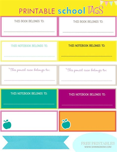 printable name tag generator new project back to school notebook and book labels
