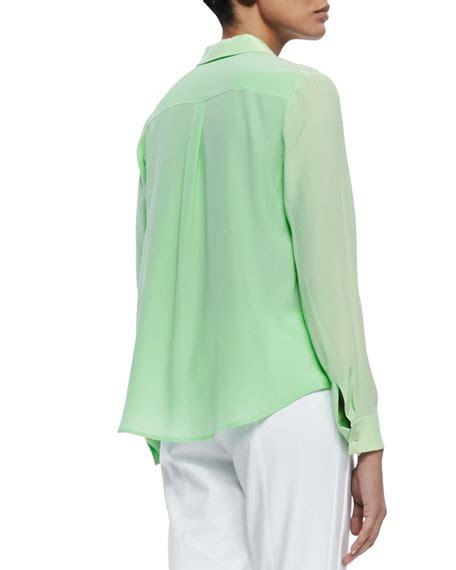 Flap Detail Blouse magaschoni sleeve flap pocket silk blouse