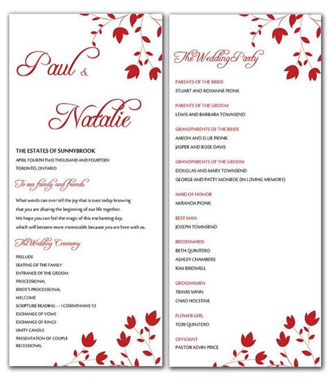 Diy Red Wild Flowers Wedding Program Microsoft Word Template Flourish Blooms Ceremony Program Microsoft Word Program Templates