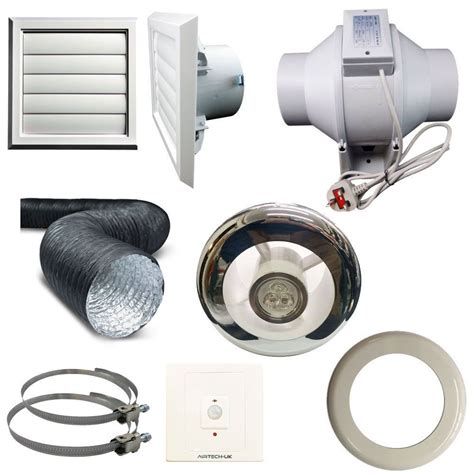 Bathroom Extractor Fan Loft Kit Timer Pir Light Inline Extractor Kit 100mm 4 Back Draught