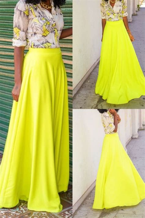 neon maxi skirt with printed blouse is here