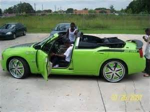 lil boosie's droptop lime green dodge charger srt with