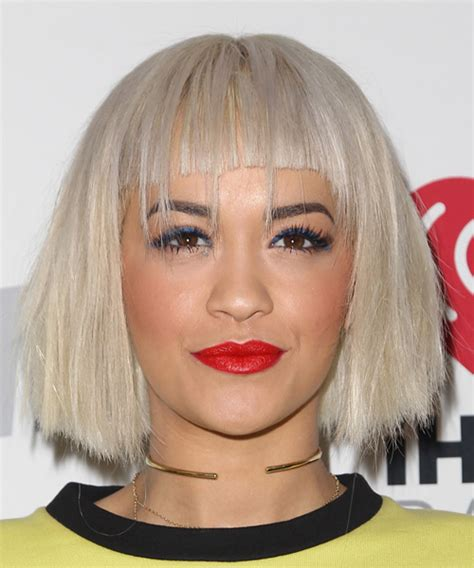 hairstyles with light bangs rita ora medium straight casual bob hairstyle with blunt