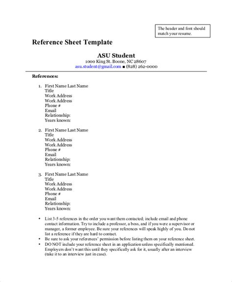 sle references page for resume 28 images reference page template 28 images reference sle for