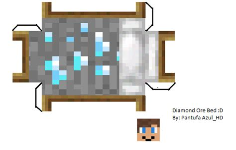 Minecraft Papercraft Bed - papercraft ore bed