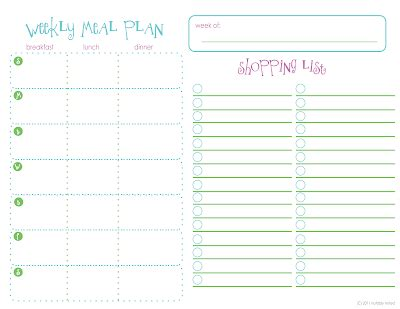notably noted: free printable: weekly meal plan.