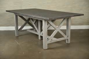 Painted rustic x base dining table mecox gardens