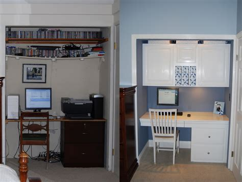 Diy Closet Desk White And Blue An Office In A Closet Makeover Lifehacker Australia