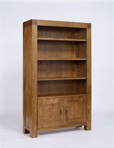 santana rustic oak bookcase with cupboard