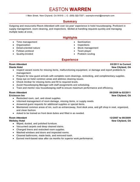 cabin manager description best room attendant resume exle livecareer