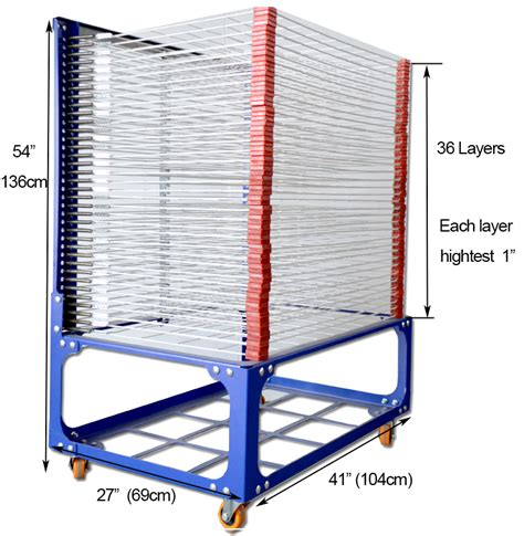 36 layers screen printing drying rack with wheels movable