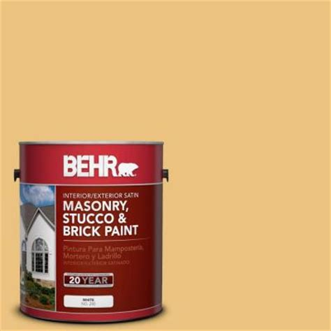 behr premium 1 gal ms 36 mayan maize satin interior exterior masonry stucco and brick paint