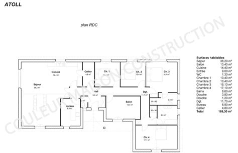Plan Pavillon 100m2 by Couleur Maison Construction Le Plan De Maison Plain Pied