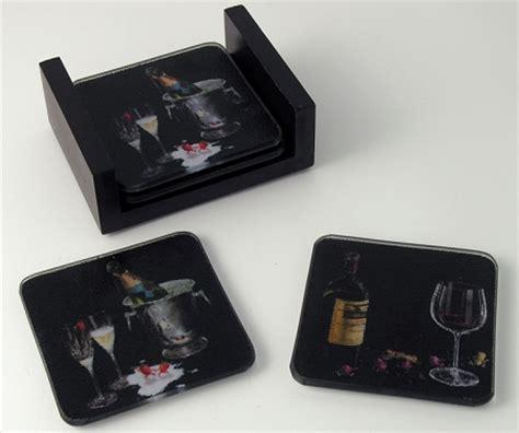 wine assortment artisan glass martini coasters set