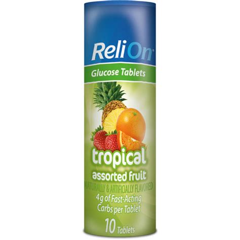 Tablet Relion reli on multiflavored tropical fruit glucose tablets 10ct walmart