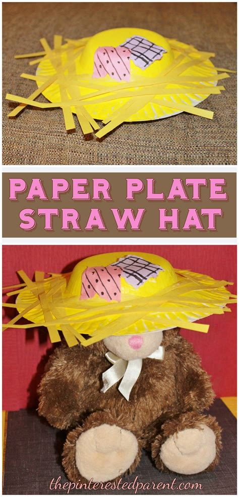 paper plate straw scarecrow hat fall crafts  kids