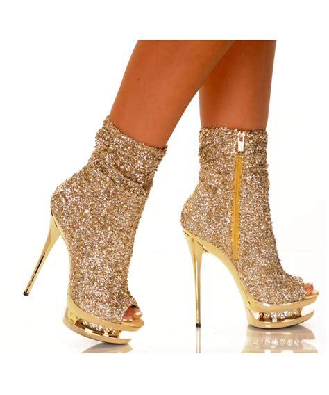 gold sparkle platform womens boots shoes