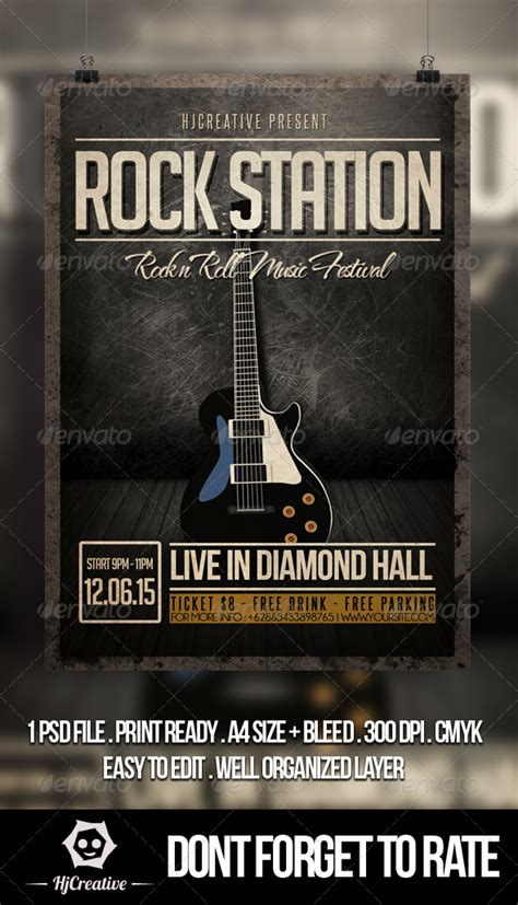rock flyer template rock station poster flyer template graphicriver
