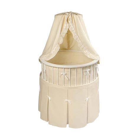 round bassinet bedding badger basket white elegance round bassinet ecru waffle